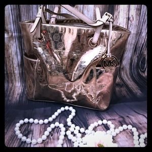 MK Gold jet set tote purse lots of storage